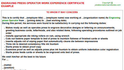 Engraving press Operator Work Experience Letter Template