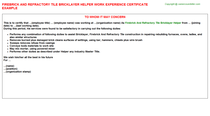 Firebrick And Refractory Tile Bricklayer Helper Experience Letter Template