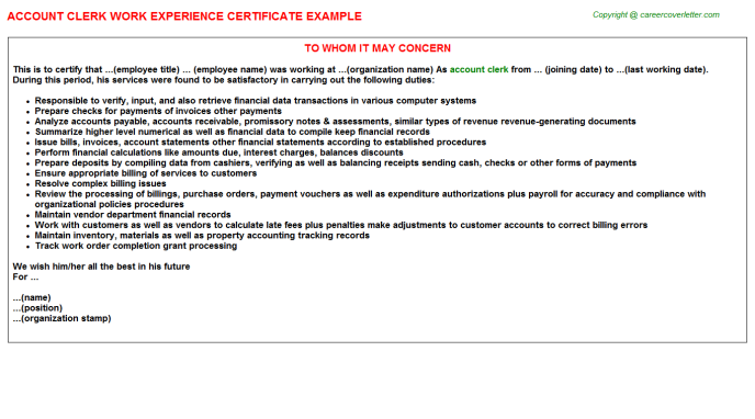 Account Clerk Work Experience Letter Template