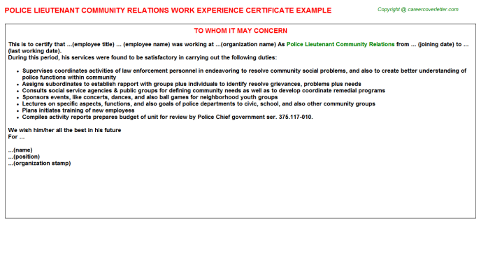 police lieutenant community relations experience letter template
