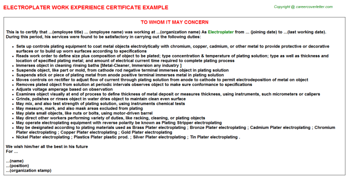 Electroplater Experience Letter Template