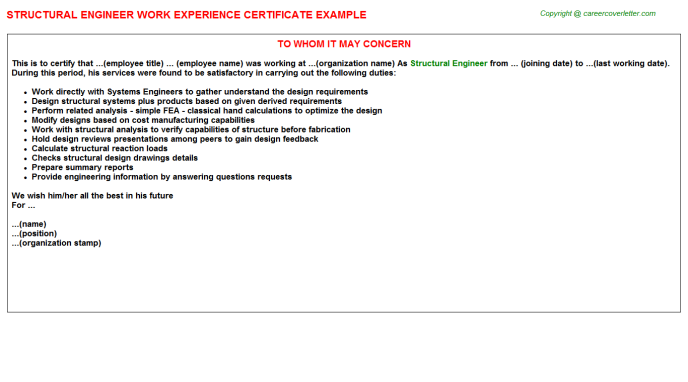Structural Engineer Experience Letter Template