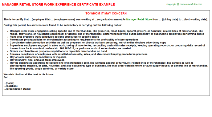 Manager Retail Store Experience Letter Template
