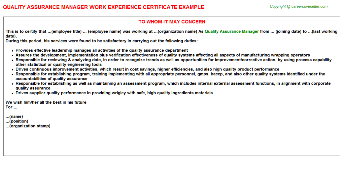 Quality Assurance Manager Work Experience Letter