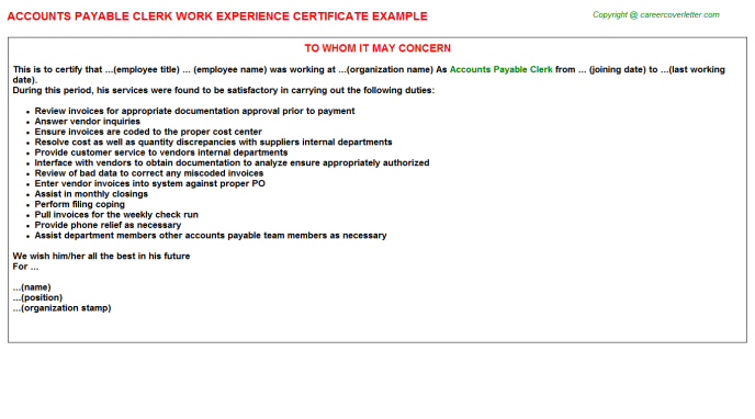 Accounts Payable Clerk Work Experience Certificate Template