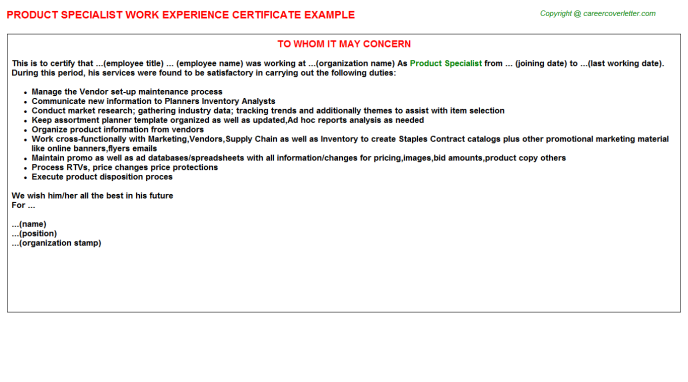 product specialist experience letter template