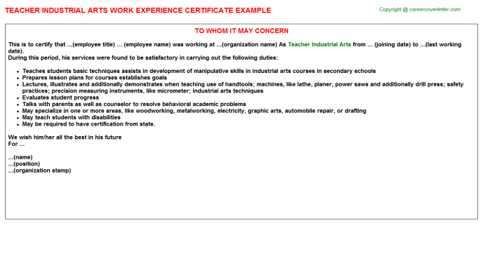 teacher industrial arts experience letter template