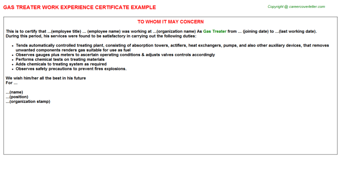 Gas Treater Experience Letter Template