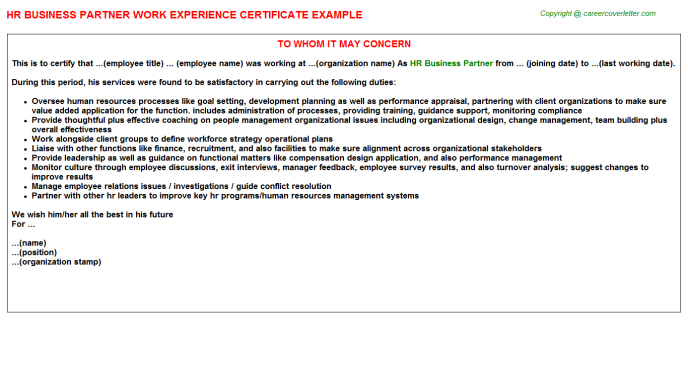 HR Business Partner Experience Letter Template