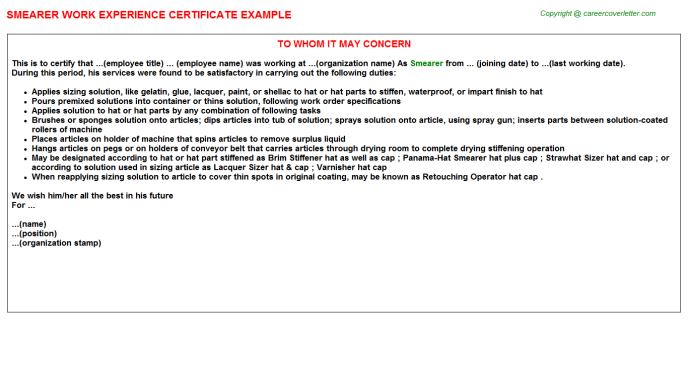 Smearer Experience Letter Template