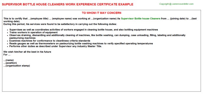 supervisor bottle house cleaners experience letter template