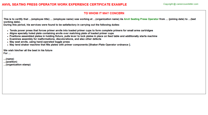 Anvil Seating Press Operator Experience Letter Template