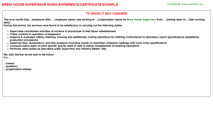 brew house supervisor experience letter template