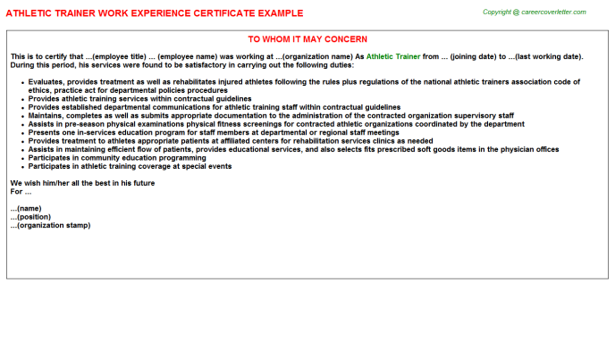 Athletic Trainer Experience Letter Template