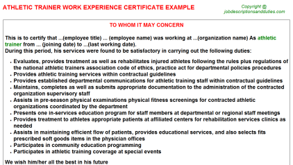 Athletic Trainer Work Experience Letter Template