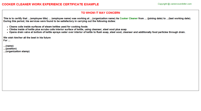 cooker cleaner experience letter template