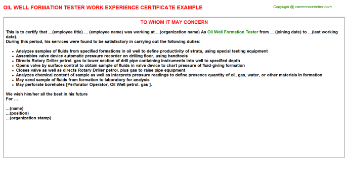 Oil well Formation Tester Work Experience Letter Template
