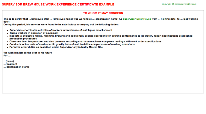 supervisor brew house experience letter template