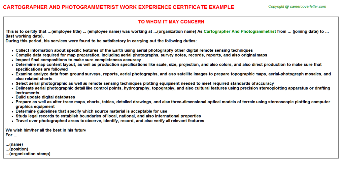 cartographer and photogrammetrist experience letter template