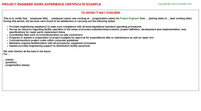 Project Engineer Experience Letter Template