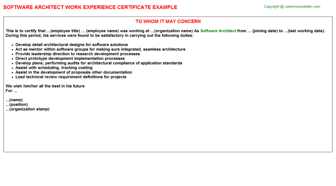 Software Architect Experience Letter Template