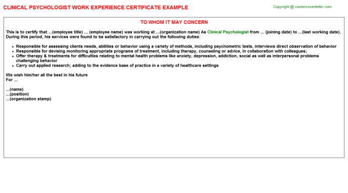 Clinical Psychologist Experience Letter Template