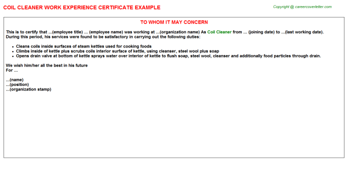 coil cleaner experience letter template