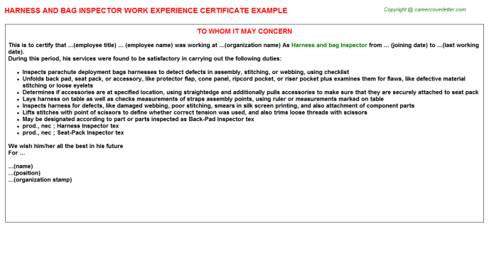 Harness and bag Inspector Experience Letter Template
