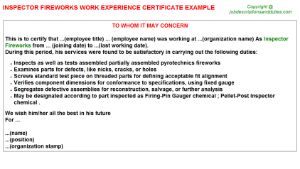 Inspector Fireworks Work Experience Letter Template