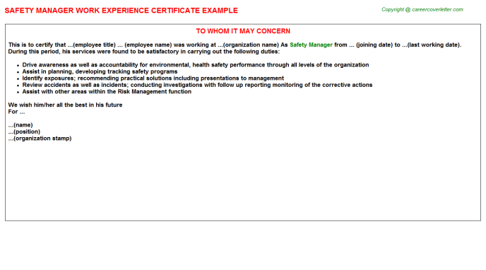 Safety Manager Experience Letter Template