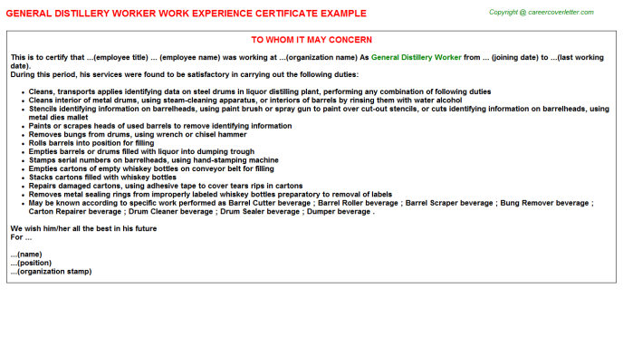 general distillery worker experience letter template