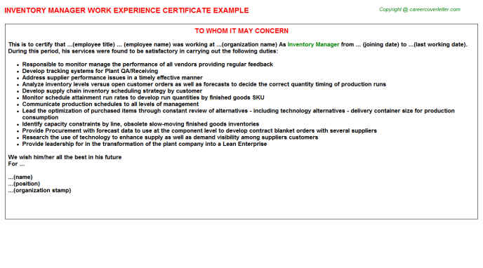Inventory Manager Experience Certificate Template
