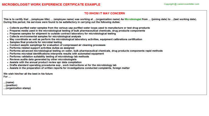 Microbiologist Experience Letter Template