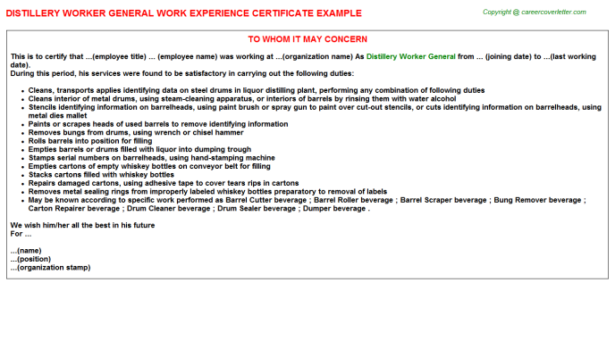 distillery worker general experience letter template