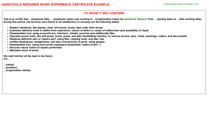 Handtools Repairer Experience Certificate Template