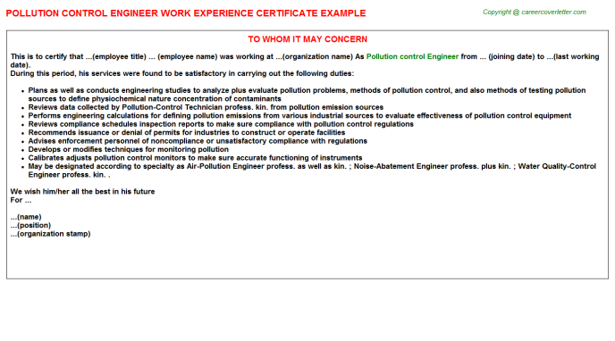 Pollution Control Engineer Work Experience Letter