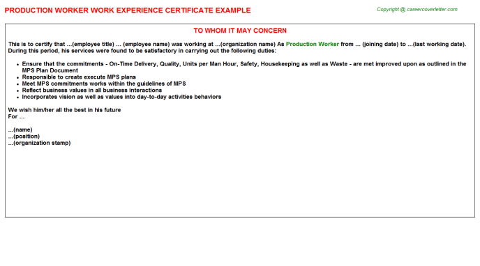 Production Worker Experience Letter Template