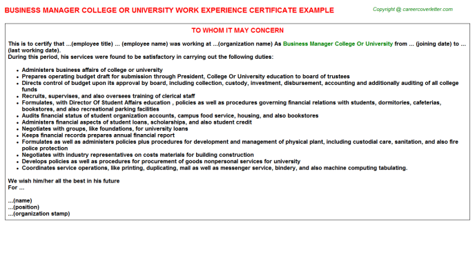 Business Manager College Or University Experience Letter Template