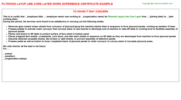 Plywood Layup Line Core Layer Work Experience Letter Template