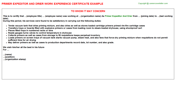 primer expeditor and drier experience letter template