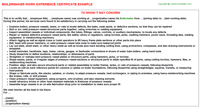Boilermaker Work Experience Certificate Template