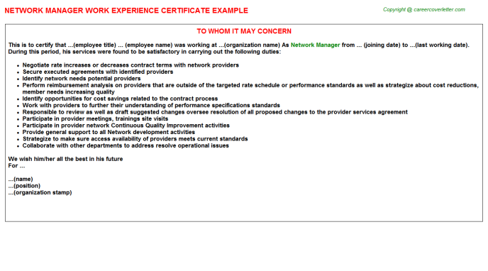 Network Manager Experience Letter Template