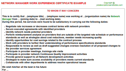 Network Manager Work Experience Letter Template