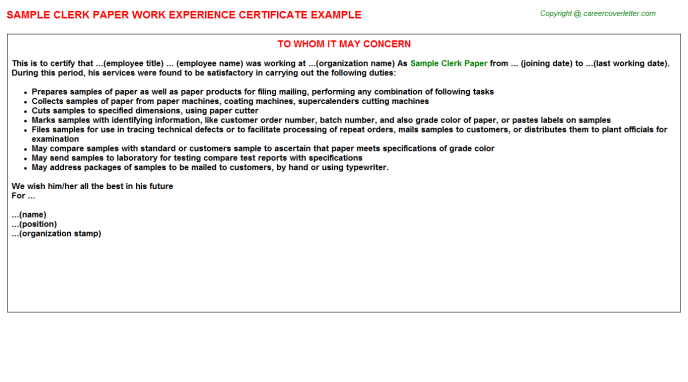Sample Clerk Paper Experience Letter Template