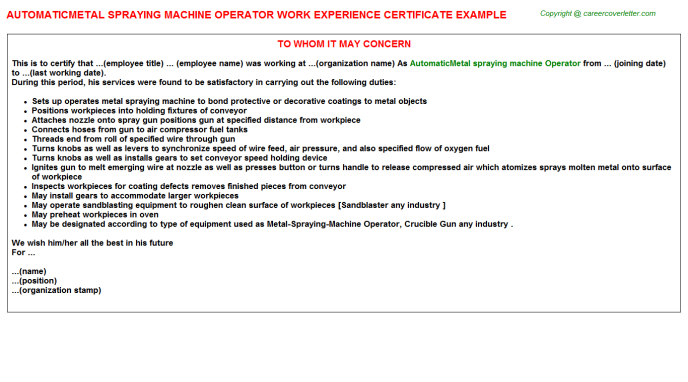 automaticmetal spraying machine operator experience letter template
