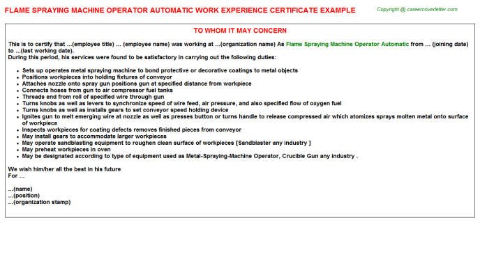 Flame spraying machine Operator Automatic Experience Letter Template
