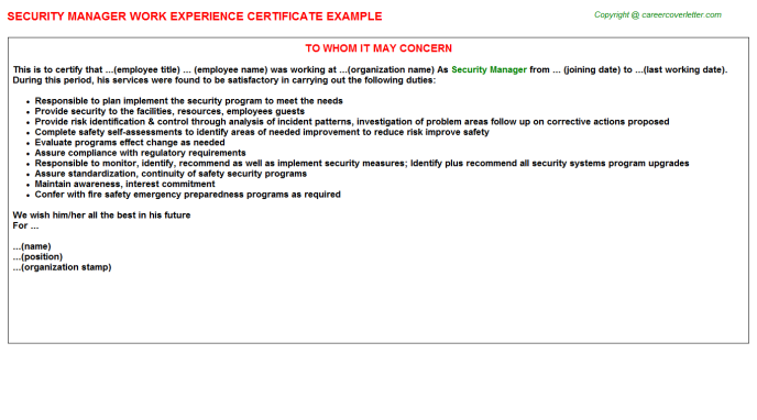 Security Manager Work Experience Certificate Template