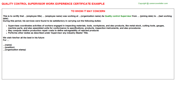 Quality Control Supervisor Work Experience Letter