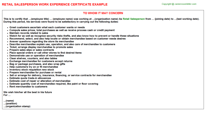 Retail Salesperson Experience Letter Template