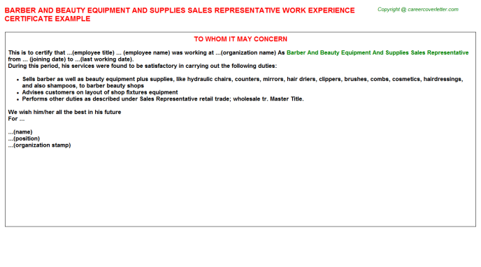 Lancome Beauty Advisors Job Experience Letters Examples